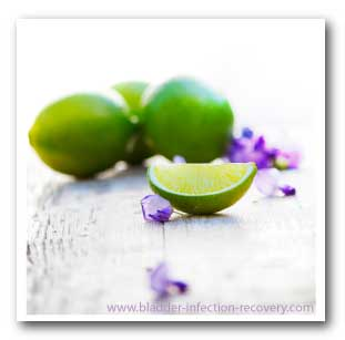 Lemons and limes can cause an alkaline effect on the body, minimising bladder infection pain